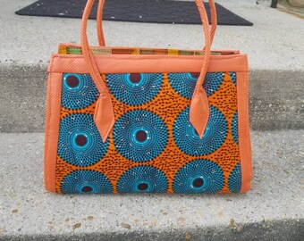 Orange Ankara African Print Bag