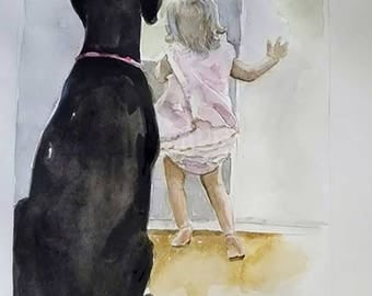 Water Color Portraits and Children and Pets