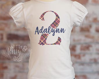 Second Birthday Plaid Puff Sleeve Shirt, Navy Plaid, Personalized 2nd Birthday Girls Outfit, Custom Birthday Top, Plaid Birthday Tee - P428A