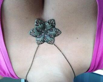Necklace bronze dangle earrings