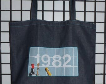 "Denim calendar ""1982"" cotton double vintage multicolor tote bag"