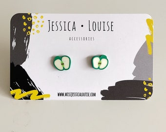 Green Apple Earrings / Green Apple Studs / Fruit Studs / Kawaii Fruit Studs / Kawaii Apple Studs / Kawaii Fruit Earrings