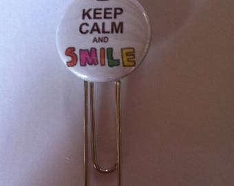 Pretty bookmark paperclip keep calm And smile