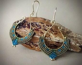 macrame earrings, silver 24K gold plated beads, 24K gold plated wire, handcrafted earrings,