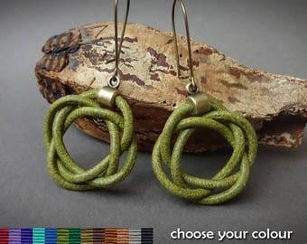 leather earrings, celtic knot earrings, olive green earrings