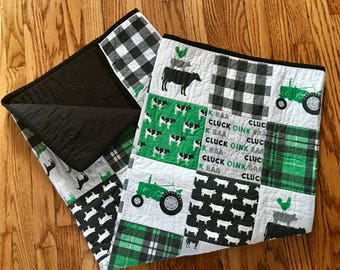 Little Farm Boy Baby Quilt with Animals and Tractors