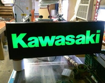 Kawasaki lighted sign 30x10x3 inch