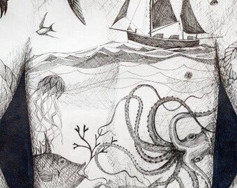 Original framed pen and ink illustration of a tattooed torso with themes of the sea and sailors