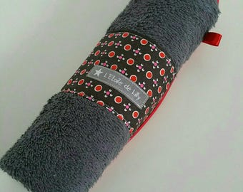 Red and charcoal grey Guest Towel - gift idea mothers day