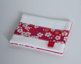 Porte-Carte en simili cuir écru et Liberty Mitsi rose fuchsia - Idée Cadeau Saint Valentin