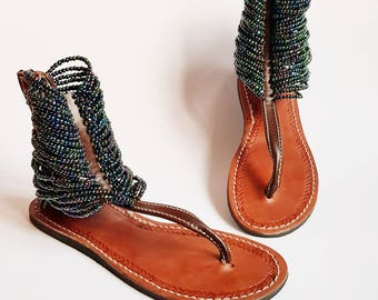 Brown and Green Beaded Sandals