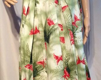"Handmade Vintage butterfly printed Skirt:  Swing Skirt  Flare, Midi length;Waist 28"" Length from waistband 27"""