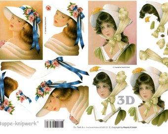 1 x sheet 3D girls hats (9127)