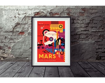 Mars Poster by NASA  Poster no FRAME  included  (Next day FREE Shipping within the usa )