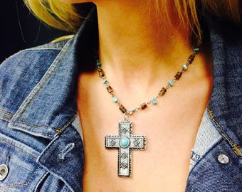 Southwest Cross Necklace - Christmas present - Country Girl - Cowgirl - New Mexico - Texas Style - Gift for Her, Religious Jewelry