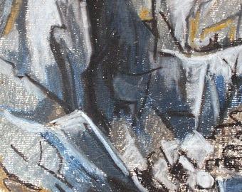 Lucie Rivel (1910-1991) Original Painting , Mountains , Landscape Oil Painting, Cubist Painting