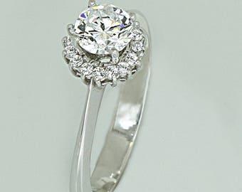 Wedding Ring Platinum K14 with Zircon