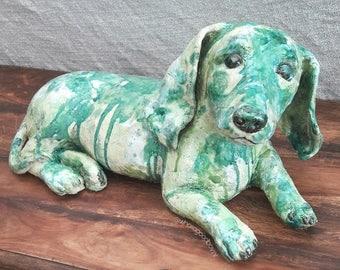 Dachshund Ceramic Sculpture green