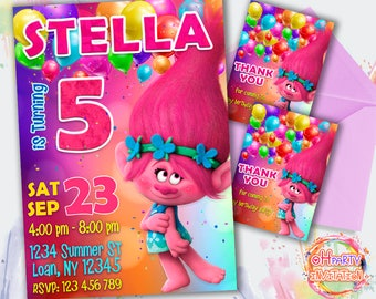 Trolls Poppy invitation. Trolls party invitation for girl. Poppy birthday invitation. Trolls rainbow invitation. Trolls birthday invitation