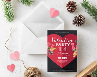 Chalkboard Party Invitation Valentine Day Red Heart Printable Invitations Valentine Party Floral Valentine Heart Invitation Digital Download