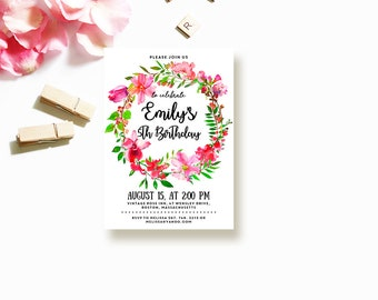 Floral Wreath Birthday Invitation Baby Girl Birthday Party Invite Printable Template Summer Birthday Flowers Invitation Kids Birthday Invite