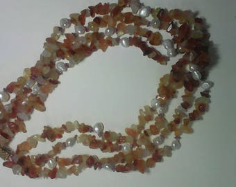 vintage Agate and pearl necklace
