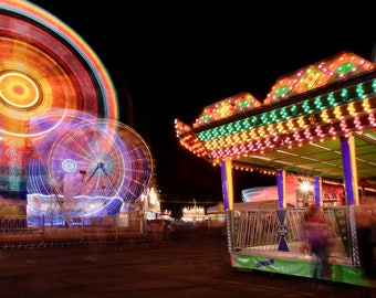 Carnival photography, Carnival Night, Fine art, Amusement Park photo, Panoramic photo, Fair, Carnival Photo, Print,  Digital download