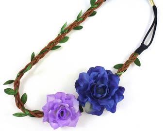 Wedding - purple/blue flower Crown headband