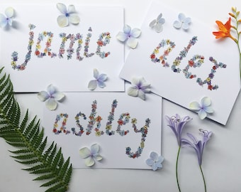 Personalised Greeting Card- Custom floral watercolour painted lettering. Birthday card, thank you card, cute card