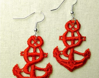 Plauen lace anchor earrings / anchor earrings Plauen lace