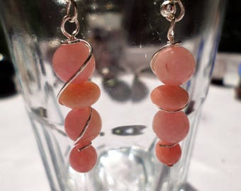 Pink Morganite Drop Earrings Wire Wrapped