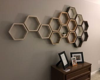 Large Hexagon Shelves, floating shelf, honeycomb shelf, honeycomb shelves, hexagon