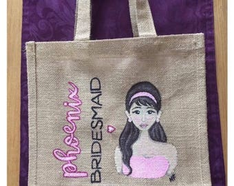 Personalised Jute Bag. Hand Painted Jute Bag. Bride, bridesmaid or christmas gift
