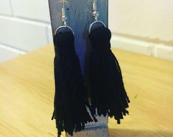 Jett Black Tassel Earrings