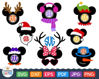 DISNEY CHRISTMAS SVG Mickey Ears with Santa Hat, Antlers, Snowman, Elf Cap Minnie Mouse Svg Christmas Monogram For Kids Cricut Files Eps Dxf