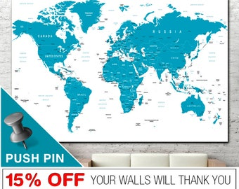 World Map Print, Word Map Canvas, World Map Wall Art, World Map, Push Pin World Map, World Map Push Pin, PushPin World Map, Map Canvas