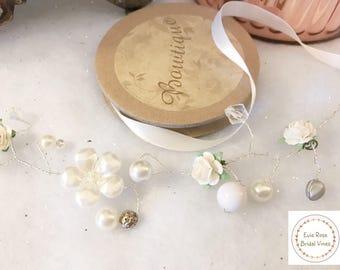 Daisy - The beautiful Ivory Silver Floral and Swarovski Crystal Bridal Wedding Hair Bun  Hair Vine vintage boho
