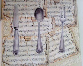 """Romantic painting on canvas """"sheet music and covered"""""""