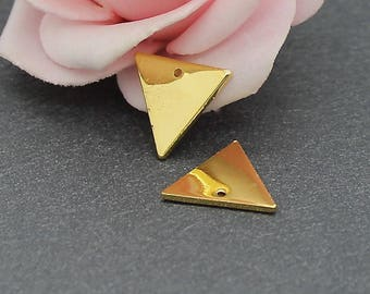x 6 charms triangle gold brass 14 x 12 mm BD15
