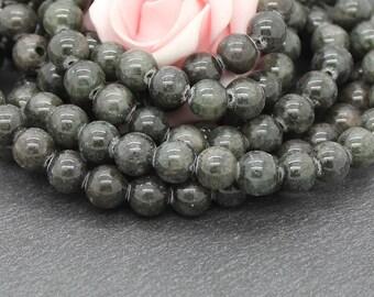 khaki Brown dyed jade 8 mm PEJ188 10 beads