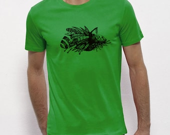 Hand Screenprinted T-shirt / insect / Green