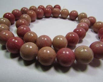 Set of 2 10 mm Rhodonite beads