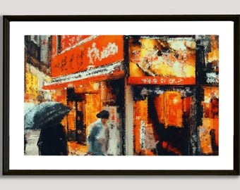 Asian Shop, painting, wall, print, decorative, home, office, restaurant, decor, apartment, art, illustration, picture, image, color, japan