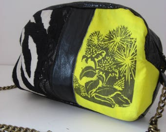 Small yellow and black bag with printing
