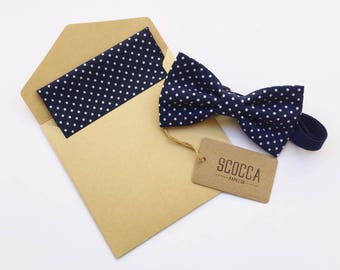 Blue and white polka dot bow tie and handkerchief for men, cotton