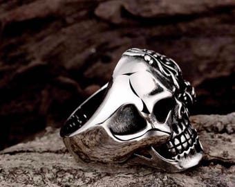 Silver Biker Ring, Skull Ring, Punk Rock Stainless Steel Ring, Red Eye Gothic Jewelry Ring, Heavy Metal, Goth Biker Size 8,9,10,11 Imani