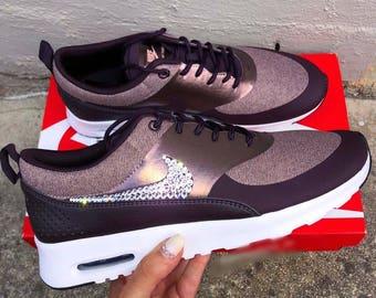 Bling Nikes Custom Swarovski Crystal Nike Air Max Thea Shoes Women's Bling Sneakers In Port Wine/Metallic Mahogany