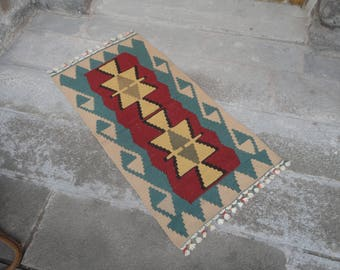 Kilim rug,FREE SHIPPING !!! hand made rug,rustic decor,Turkish vintage rug,45'' x 24'' ,interior design,home decor,flat woven rug,piless rug