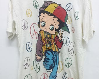 Rare!! Vintage BETTY BOOP t-shirt full print over multi colour nice design