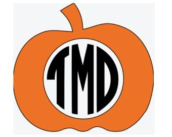 Custom Pumpkin Monogram Vinyl Decal